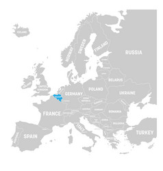 belgium marked by blue in grey political map of vector image vector image
