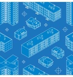 Blueprint dwelling buildings seamless pattern vector image