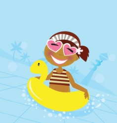 child in water pool vector image