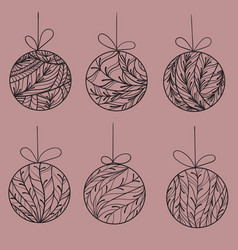 christmas tree balls with coniferous ornament vector image