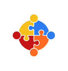 circle puzzle of teamwork logo vector image vector image