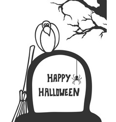 Crow on grave handdrawn style halloween poste vector
