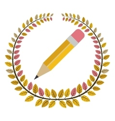 Crown of leaves with pencil vector