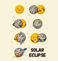 Cute moon practice of yoga solar eclipse in vector