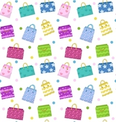 Cute shopping bag seamless pattern Colorful bags vector image
