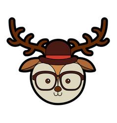 Cute vintage deer face cartoon vector