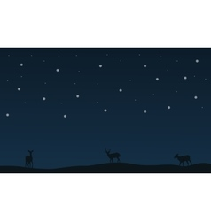 Deer on the field christmas landscape collection vector