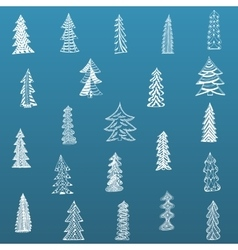 Doodle Christmas Tree Set on blue Background vector image vector image