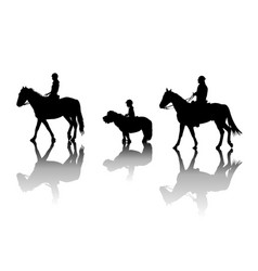 family riding horses and pony vector image vector image