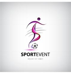 Football soccer logo man with ball vector