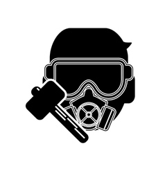 Gas mask and hammer icon vector