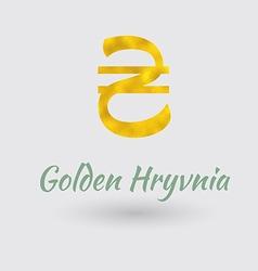 Golden hryvnia symbol vector
