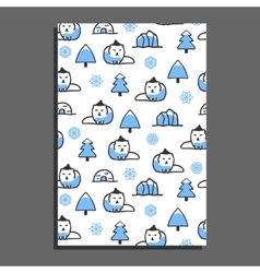 Greeting card template with cute cartoon polar fox vector