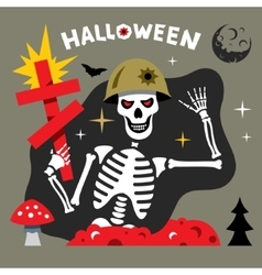 Halloween skeleton cartoon vector