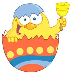 Happy Yellow Chick Peeking Out Of An Easter Egg vector image vector image