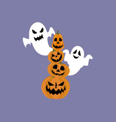 jack-o-lantern pumpkin and ghost vector image vector image