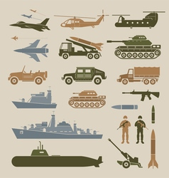 Military Vehicles Object Symbols Set Side View vector image vector image