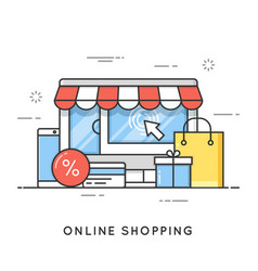 online shopping e-commerce flat line art style vector image vector image