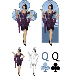 Queen of clubs asian starlet Mafia card set vector image vector image