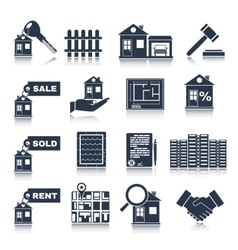Real Estate Black Icons vector image vector image
