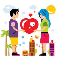 Romantic couple give love valentines day vector