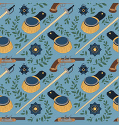Seamless pattern with swords epaulettes pistols vector