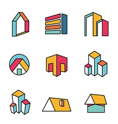 Set of real estate house logo designs vector image vector image