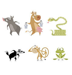 six funny animals vector image vector image