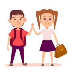 small boy with backpack and pretty girl with bag vector image vector image