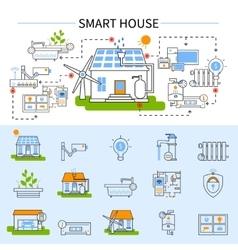 Smart house flat concept vector