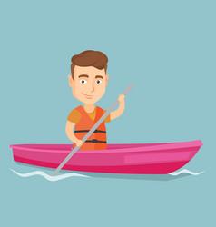 Sportsman riding a kayak vector