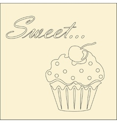 Sweet monochrome card with cupcake vector image vector image
