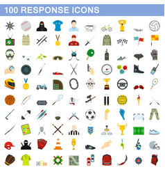100 response icons set flat style vector