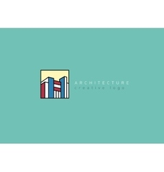 Logo on the architectural theme in a linear style vector