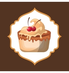 Delicious cake baked goods vector
