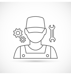 Mechanic avatar outline icon vector image
