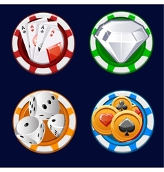 Poker icon color chips vector
