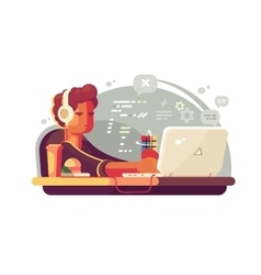 Web developer works on laptop vector