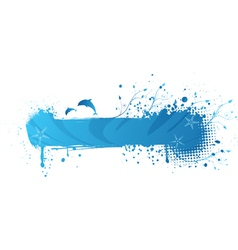 Blue sea gringe banner vector