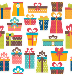 Seamless pattern with colorful gift boxes vector