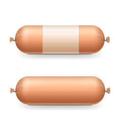 Sausages on white background realistic package vector