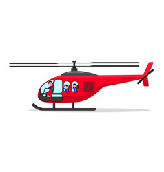 Cartoon helicopter with passengers pilot vector