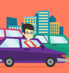 angry asian man in car stuck in traffic jam vector image