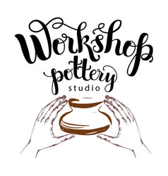 workshop pottery studio logo vector image