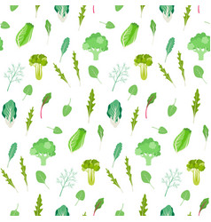Salad greens and leafy vegetables pattern vector