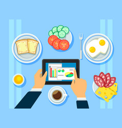 Traditional business breakfast concept vector