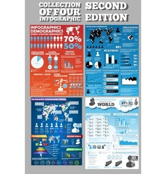 Collection of four infographics second edition vector