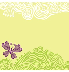 Floral pattern background with butterfly vector