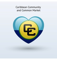 Love caribbean community and common market symbol vector
