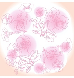 Pink background with pansies and bindweed vector